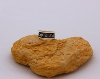 Personalized silver ring, Engraved silver ring, Custom made jewelry, Personalized Stacking ring, Custom silver ring