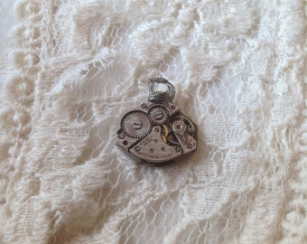 Upcycled vintage watch steampunk pendant