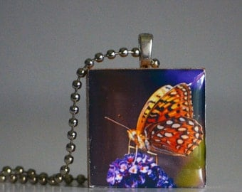 Orange Butterfly Pendant Necklace Nature Square Photography Purples Oranges Spots Wildlife