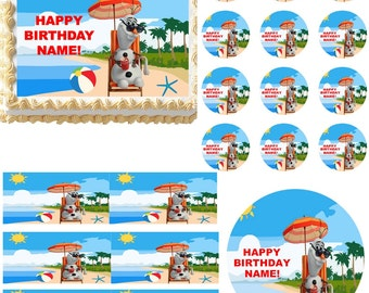 FROZEN OLAF on the Beach Summer Edible Cake Topper Image Frosting Sheet Cake Decoration Many Sizes!