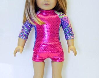 American made Girl Doll Clothes, 18 inch Doll Clothing, made to fit like American Girl Doll Clothes, Gymnastic/Dance Top w/ Boy-Cut Shorts