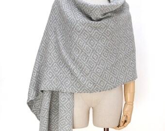 Wool oversized wrap shawl ,silver Gray shawl