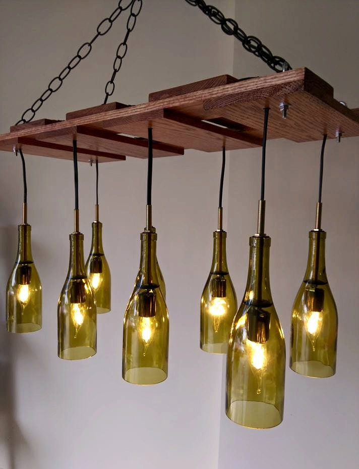 Wine bottle chandelier reserved item currently on by for How to make your own wine bottle chandelier