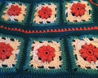 Jade Teal Orange Flowers Crochet Afghan