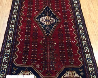 """5'4"""" x 10' Persian Abadeh Oriental Rug - 1980s - Gallery Sized - Hand Made - 100% Wool"""