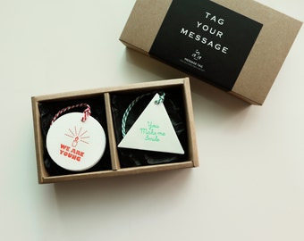 TAG YOUR MESSAGE letterpress message tag round+triangle package