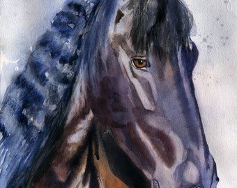 Friesian Horse art Morgan Warmblood Print of a watercolor Painting Black Equestrian Andalusian Big Large Huge Girls Teens  Lover Unique Gift