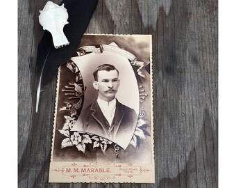 Vintage Funeral Cabinet Card - 1800s Funeral Photograph - Man