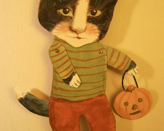cat art paper doll , cat paperdoll , october cat, halloween cat pumpkin, whimsical, wall hanging