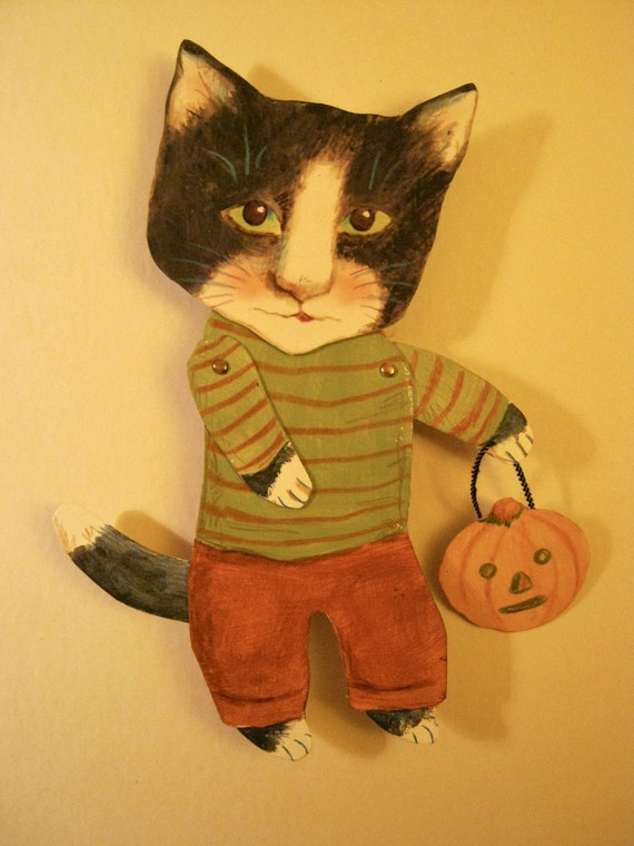 Cat Art Paper Doll Cat Paperdoll October Cat Halloween