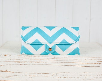 SmartPhone Purse 12x - Ultimate Wallet Clutch with ID pocket / Chevron in Girly Blue -- Ready to Ship
