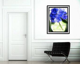 Blue Hydrangea Fine Art-Art Print-Original Watercolor-Floral-FRAMEABLE ART-Gliclee-Wedding-Home Decor-Collectibles-Wall Decor-BlueHydrangeas