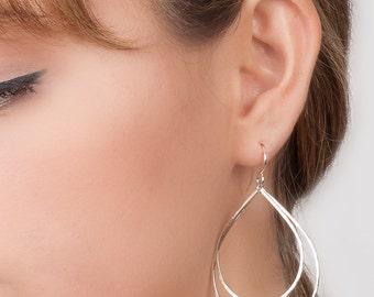 Silver Teardrop Earrings, Double Teardrop Earrings, Large Hoops with Movement, Boho Jewelry, Sterling Silver Raindrop Earrings