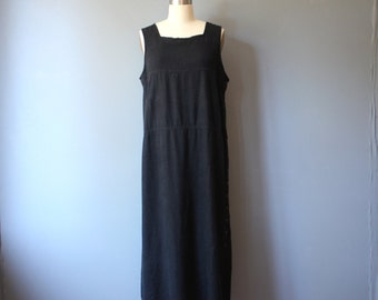 vintage 90s linen dress / black tunic maxi dress / M-L
