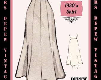 Vintage Sewing Pattern 1930's 1940's A-line Skirt in Any Size Depew 3506 - Plus Size Included -INSTANT DOWNLOAD-