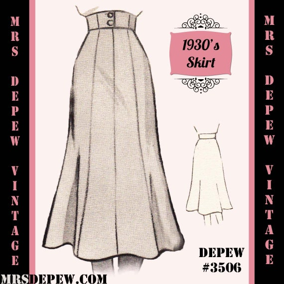 1940s Sewing Patterns – Dresses, Overalls, Lingerie etc Sewing Pattern 1930s 1940s A-line Skirt in Any Size Depew 3506 - Plus Size Included -INSTANT DOWNLOAD- $7.50 AT vintagedancer.com