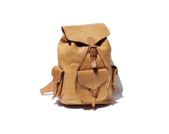 Vintage Tan Leather Large Travel Backpack