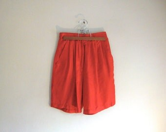 Vintage 90s 80s Red 100% Silk High Waisted Pleated Shorts - Size S