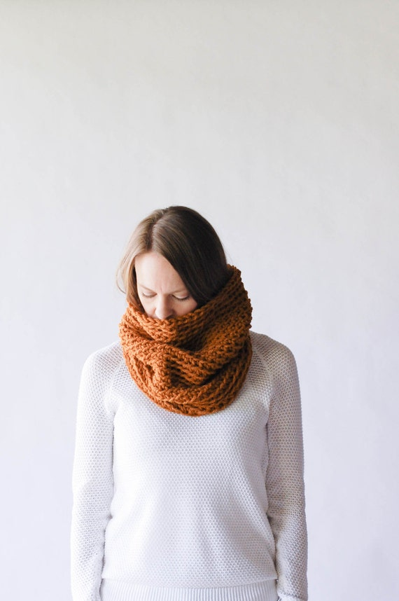 Ready To Ship! / Chunky Knit Cowl Neckwarmer / THE MINNETONKA / Pumpkin Spice