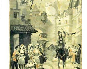 Vintage PAINTING on Print FABRIC,  ORNAMENT- busy Street Parade, old fashion dressed women, men- Horses - signed, years 1940 - Free Shipping