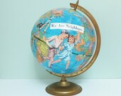 Handmade Altered Art Vintage Globe with Decoupaged Images of Children from a 1940s Primer, Cram's Imperial World Globe