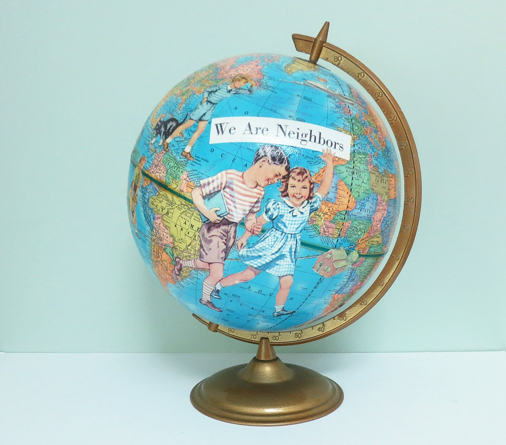 handmade globes handmade altered vintage globe with decoupaged images of 6868