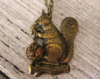 Vintage Squirrel Necklace brass squirrel jewlery animal necklace woodland jewelry brass necklace whimsical birthday gift squirrel gift