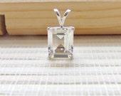 White Topaz Pendant Sterling Silver April Birthstone 10x8mm