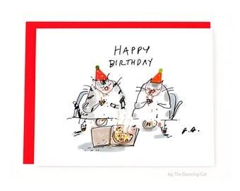 Funny Birthday Card - Pizza Cats - Pizza Birthday Card