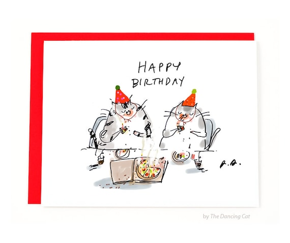 Funny Vine Photo Birthday Cards: Funny Birthday Card Pizza Cats Pizza Birthday Card