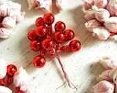 Vintage Christmas Red Glass Ball Picks | Christmas Ornaments | Craft Supplies | Tie-Ons