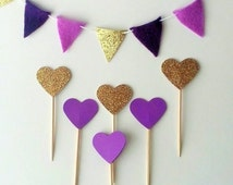 12+ Purple and Gold Heart Cupcake Topper - Gold Glitter Cupcake Heart - Purple Birthday Party Picks - Purple Cake Topper Food Purple Heart