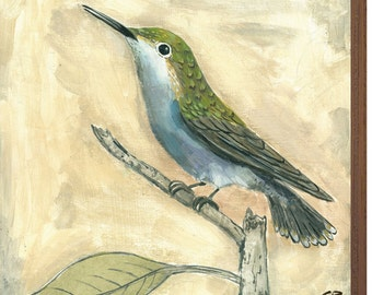 Hummingbird Print on Wood