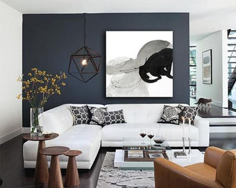 """Extra Large Black and White Abstract Art, 48x48"""" original fine art -- """"Painting 38 - The Circled Mountain"""", expressive delicate abstract art"""