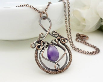 Amethyst necklace, dark purple amethyst gemstone wire wrapped copper necklace, handmade copper jewelry