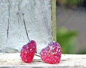 Pink Glitter Heart Stud Earrings, Choose Titanium or Stainless Steel,14mm