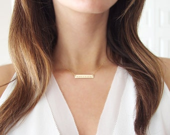 Coordinate Necklace Gold | Longitude Latitude Necklace | Personalized Bar Necklace