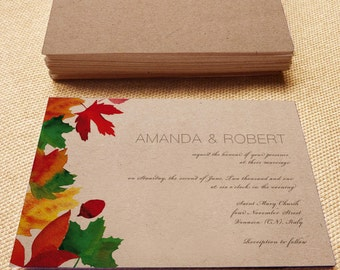 Printable Wedding Invitation, Fall wedding, DIY printable invitation, Print your invitation, Printable invitation, fall wedding Invitation