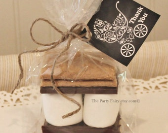 S'mores Favor Kits, 12 S'mores Baby Shower Favor Kits with Tags, Baby Shower Favors, Thank You Gift, DIY Party Favors, Baby Shower Thank You