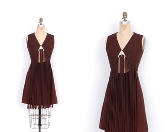 Vintage 1960s Dress / 60s Fringe Cutout Mini Dress / Chocolate Brown (S M)