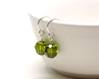Olivene Swarovski Crystal Earrings with Sterling Silver | Bright, Saturated Olive Green | Bridal, Wedding, Bridesmaids | Drops by Azki