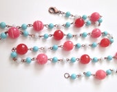 Long Beaded Necklace in Coral, Red, Turquoise, White, and Copper