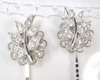 Vintage Leaves Bridal Hair Pins, Art Deco Clear Pave Rhinestone Silver Fern Leaf Bobby Pin Pair, Woodland Wedding Grecian 1920s Hair Clips