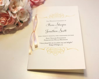 Jewish Wedding Program / Wedding Program Booklets / Blush and Gold Programs / Wedding Booklets / 2 Page Gold Flourish Wedding Program Sample