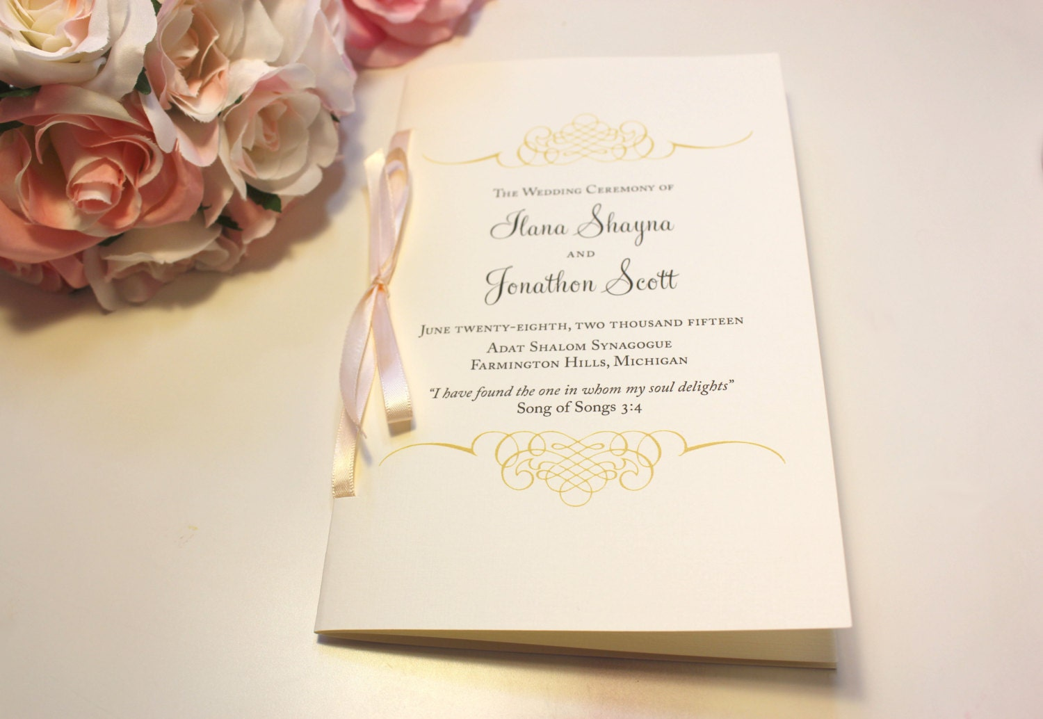 Jewish Wedding Program Booklets Blush And