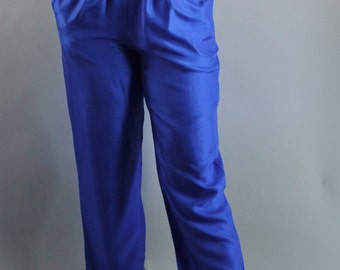 SALE - Vintage 80s Womens Royal Blue Silk Summer Pants // Festival Fashion // High Waist Pants