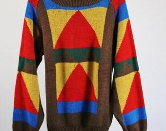 SALE - Vintage 80s Valentino Oumo Geo Metric Multi Color Designer Sweater - Mens Size Medium
