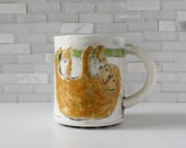 Sloth Mug | coffee mug tea cup | gold green white jungle animal mug | cute lazy creatures by Hadleyclay | made to order