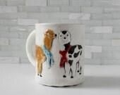 Alpaca Mug | coffee mug tea cup | aztec peru andes mountain animal | alpaca couple with scarves, mint inside | love gift | made to order