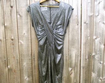 Vintage Dress Glam Dress Designer Dress 80's Dress 1980 Dress Black Silver Dress Polka Dot Dress